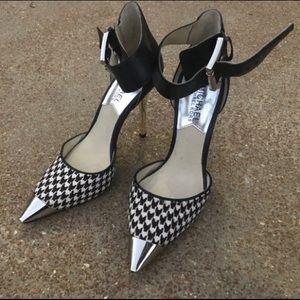 Michael Kors Houndstooth Silver Stilettos Heels